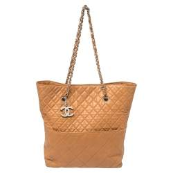 Chanel Brown Quilted Leather In The Business North South Tote