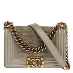 Chanel Grey Scales Leather Mini Chain Boy Flap Bag