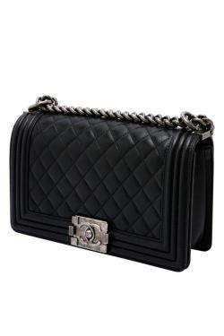Chanel Black Calfskin Leather & Ruthenium-Finish Metal Black Boy Bag