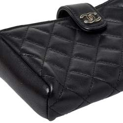 Chanel Black Quilted Leather CC O-Mini Phone Holder Clutch