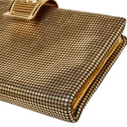 Chanel Metallic Gold Leather CC Foldover Clutch