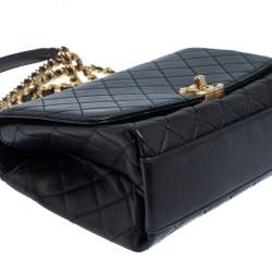 Chanel Black Quilted Leather Small Flap Chain Top Handle Bag