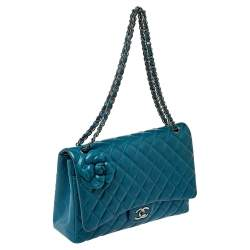 Chanel Teal Quilted Leather Maxi Camellia Applique Double Flap Bag