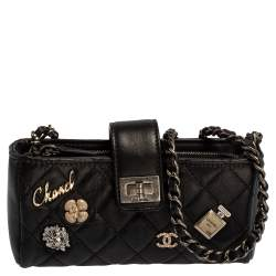 Chanel Black Quilted Leather Reissue Phone Holder Chain Clutch