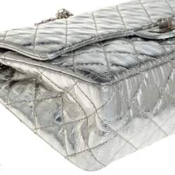 Chanel Silver Striped Quilted Leather Reissue 2.55 Classic 226 Flap Bag