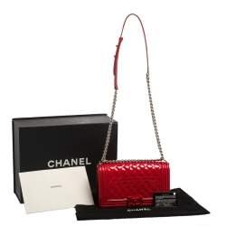 Chanel Red Quilted Patent Leather Medium Boy Flap Bag