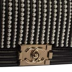 Chanel Black Leather Pearl Embellished Small Boy Flap Bag