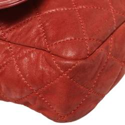 Chanel Red Quilted Iridescent Leather In The Mix Flap Bag