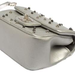 Chanel Silver Quilted Leather Studded Mini Flap Bag