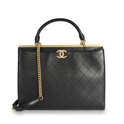 Chanel Black Quilted Calfskin Leather Coco Luxe Large Shopping Bag