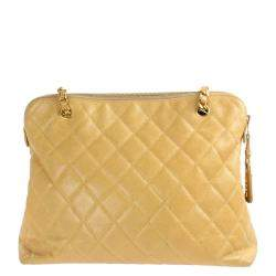 Chanel Beige Caviar Quilted Leather Vintage CC Tote Bag