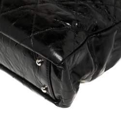 حقيبة يد شانيل بورتوبيلو تويد وجلد ممزق لامع أسود