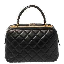 Chanel Black Quilted Leather Large Trendy CC Bowler Bag