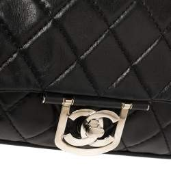 Chanel Black Quilted Leather Icons Secret Label Flap Bag