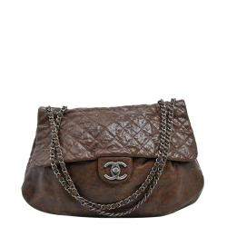 Chanel Brown Quilted Leather Coco Pleats Flap Bag