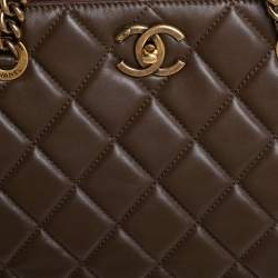 Chanel Mocha Quilted Leather CC Turnlock Tote