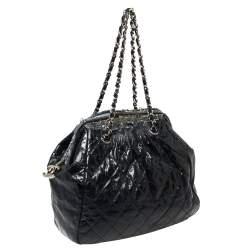 Chanel Navy Blue Quilted Glazed Leather and Tweed Frame Portobello Shoulder Bag