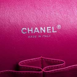 Chanel Fuchsia Quilted Patent Leather Maxi Classic Double Flap Bag