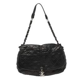 Chanel Black Quilted Pleats Leather Flap CC Charm Hobo