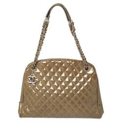 Chanel Brown Quilted Patent Medium Just Mademoiselle Bowling Bag