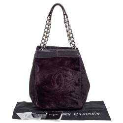 Chanel Plum Calf Hair and Leather CC Chain Tote