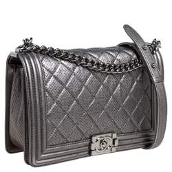 Chanel Silver Quilted Perforated Leather New Medium Boy Flap Bag