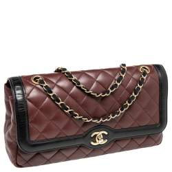 Chanel Black/Burgundy Quilted Leather Two Tone Day Flap Bag