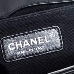 Chanel Black/Grey Quilted Leather Medium Boy Studded Flap Bag