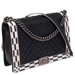 Chanel Black/White Quilted Leather Large Checkerboard Trim Boy Flap Bag