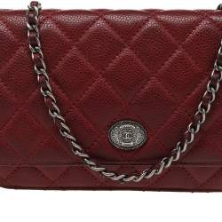 Chanel Red Quilted Caviar Leather CC Classic Flap Wallet on Chain