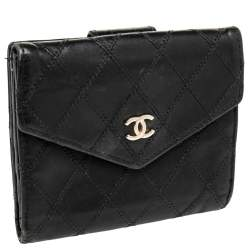 Chanel Black Double Quilted Leather Vintage Trifold Wallet