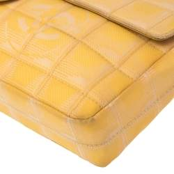 Chanel Yellow CC Bar Quilted Fabric East West Flap Bag