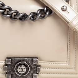 Chanel Beige Glazed Leather Small Boy Flap Bag