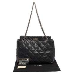 Chanel Black Quilted Caviar Leather Reissue 2.55 Tote