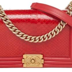 Chanel Red Python And Leather Medium Boy Flap Bag