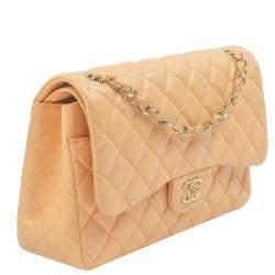 Chanel Beige Lambskin Leather Classic Double Flap Bag