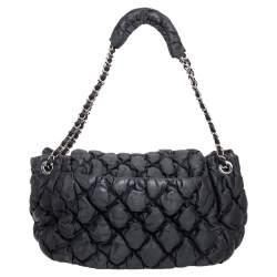 Chanel Black Bubble Quilted Nylon Accordion Shoulder Bag