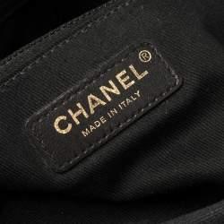 Chanel Black Chevron Quilt Canvas Jumbo Classic Single Flap Bag