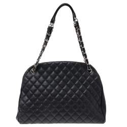 Chanel Black Quilted Caviar Leather Medium Just Mademoiselle Bowler Bag