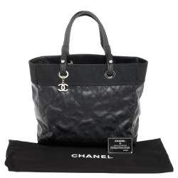 Chanel Black Quilted Coated Canvas XL Paris Biarritz Tote