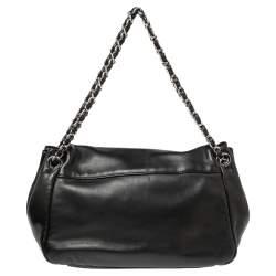 Chanel Black Leather Disc Accordion Flap Bag