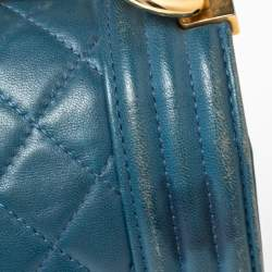 Chanel Blue Quilted Leather New Medium Boy Flap Bag
