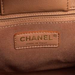 Chanel Beige Quilted Leather Label Click Tote