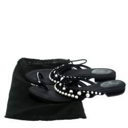 Chanel Navy Blue Velvet Faux Pearl Embellished Flat Strappy Slides Size 38.5