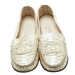 Chanel Pearl Finish Cream Python Leather Slip On Loafers Size 38.5