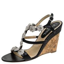 Chanel Black Leather Embellished Wedge Strappy Sandals Size 40.5