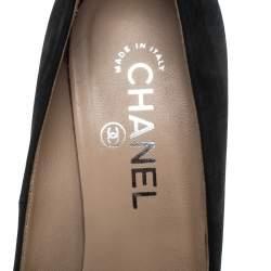 Chanel Black Nubuck Cap Toe Platform Pumps Size 38