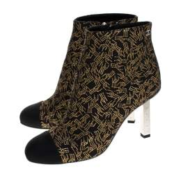 Chanel Black/Gold Printed Fabric Cap Toe Ankle Boots Size 36.5