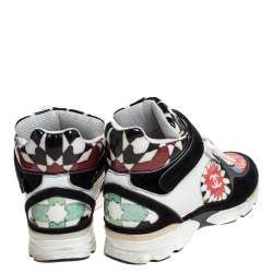 Chanel Multicolor Printed PVC and Leather CC Strap High Top Sneakers Size 40.5
