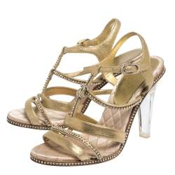 Chanel Metallic Gold CC Crystal Embellished Suede Lucite Heel Strappy Sandals Size 37